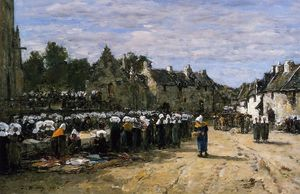 Eugène Louis Boudin - The Market at Landerneau