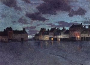 Frits Thaulow - Marketplace in Dieppe, After a Rainstorm