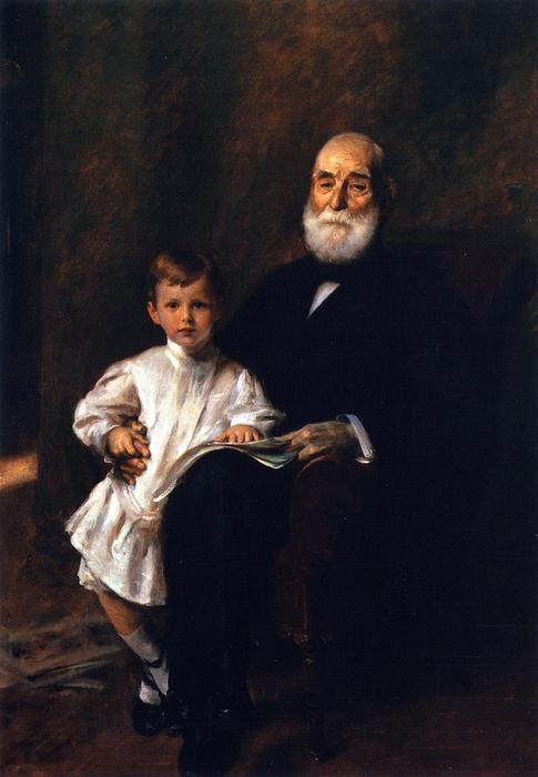 famous painting Master Otis Barton and His Grandfather of William Merritt Chase