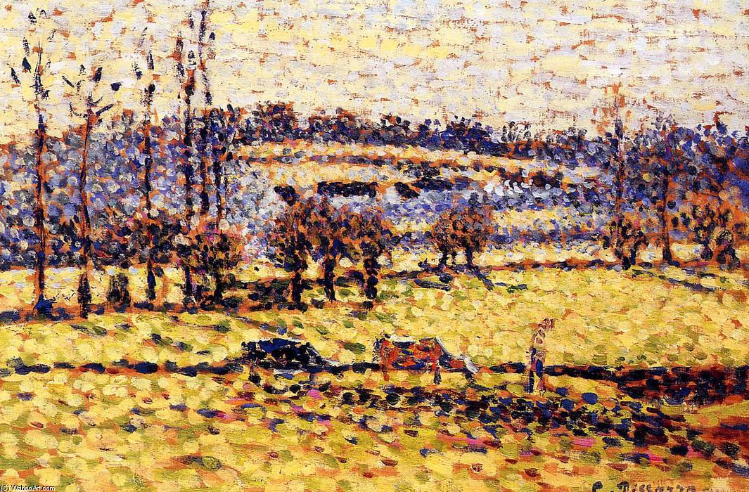famous painting Meadow at Bazincourt of Camille Pissarro