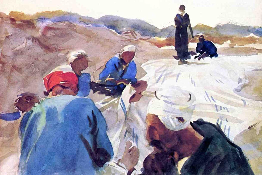 famous painting Mending a Sail of John Singer Sargent