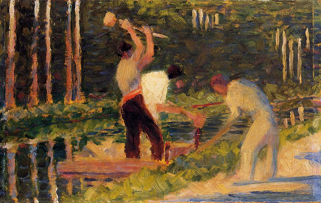 famous painting Men Laying Stakes of Georges Pierre Seurat