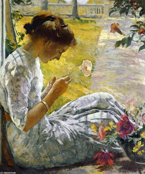 famous painting Mercie Cutting Flowers of Edmund Charles Tarbell