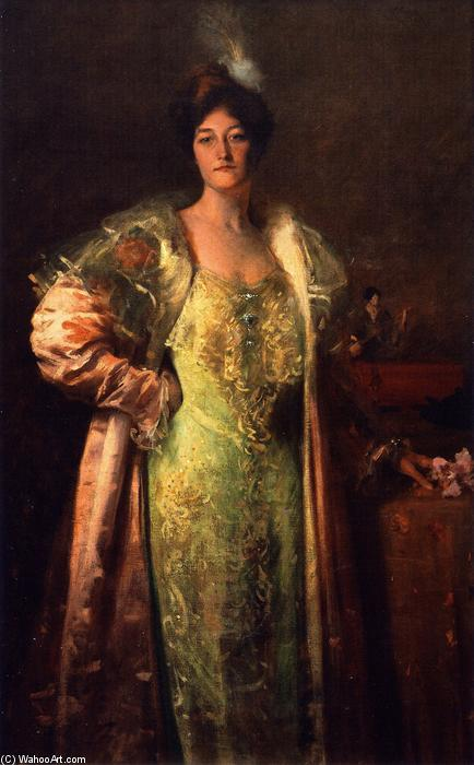 famous painting Miss J. (also known as Portrait of Miss J., Portrait - Content Johnson) of William Merritt Chase