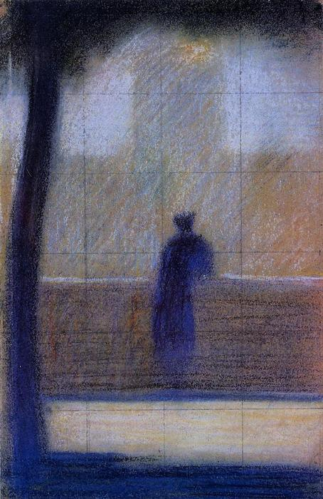 famous painting Man leaning on a parapet of Georges Pierre Seurat