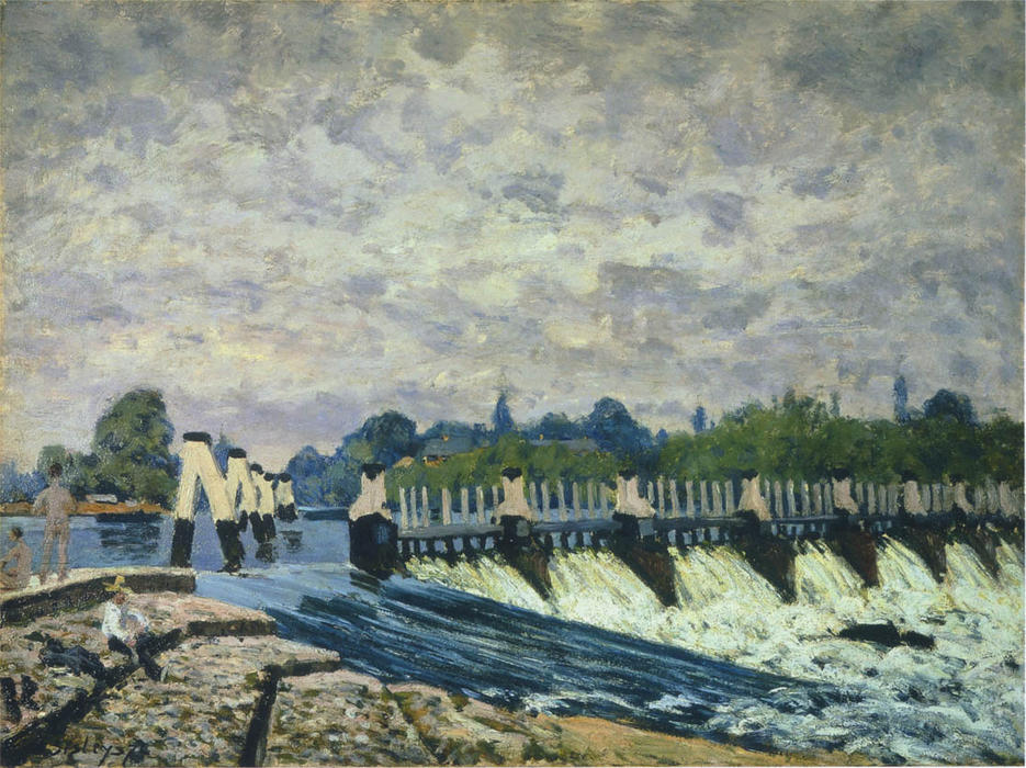 famous painting Molesey Weir at Hampton Court Morning of Alfred Sisley