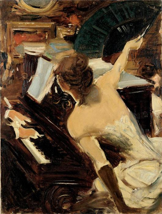 famous painting The Mondona Singer of Giovanni Boldini