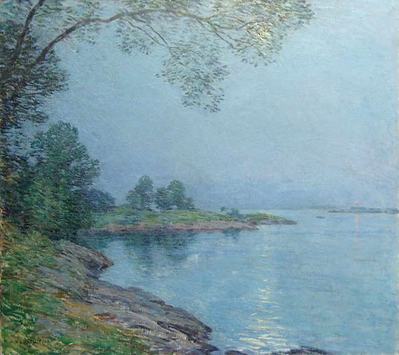 famous painting Moonlight, Kittery Maine of Willard Leroy Metcalf