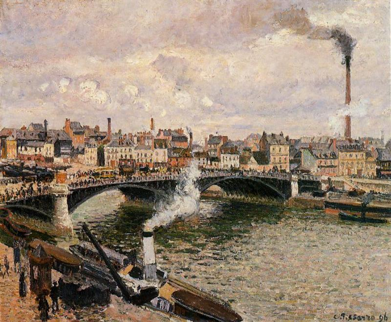 famous painting Morning, Overcast Day, Rouen of Camille Pissarro