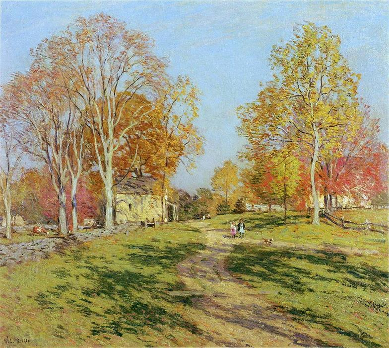 famous painting Morning Shadows of Willard Leroy Metcalf