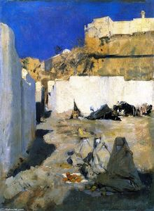 John Singer Sargent - Moroccan Fortress, with Three Women in the Foreground (also known as Bedouin Women)