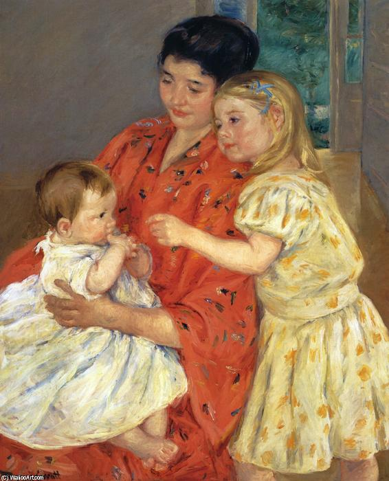 famous painting Mother and Sara Admiring the Baby of Mary Stevenson Cassatt