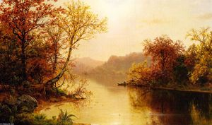 Louis Remy Mignot - Mountain Lake in Autumn