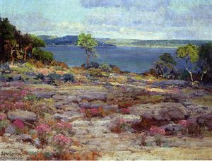 Robert Julian Onderdonk - Mountain Pinks in Bloom, Medina Lake, Southwest Texas