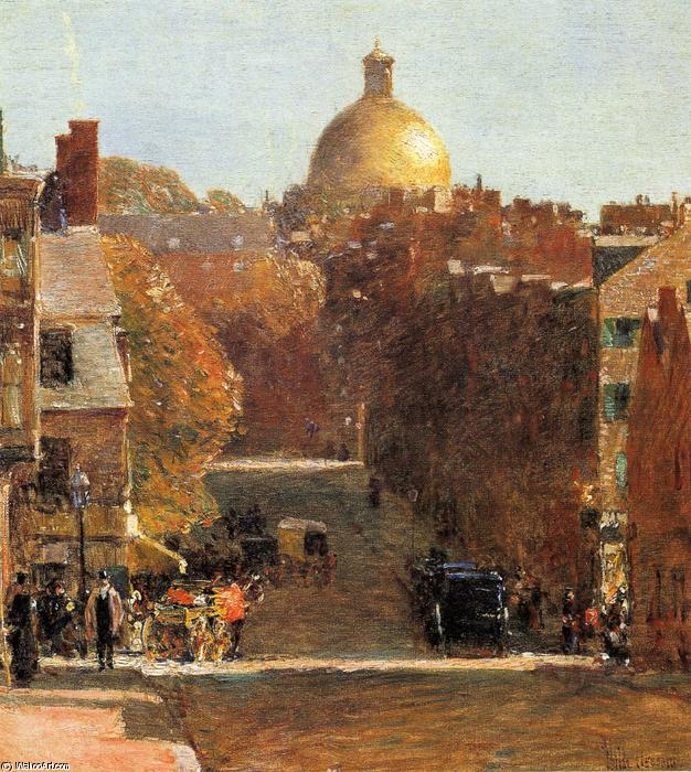 famous painting Mount Vernon Street, Boston of Frederick Childe Hassam