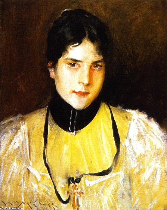famous painting Mrs Chase (also known as The Yellow Blouse) of William Merritt Chase