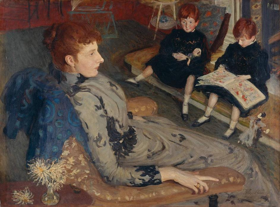 famous painting Mrs Cyprian Williams and Her Two Little Girls of Philip Wilson Steer