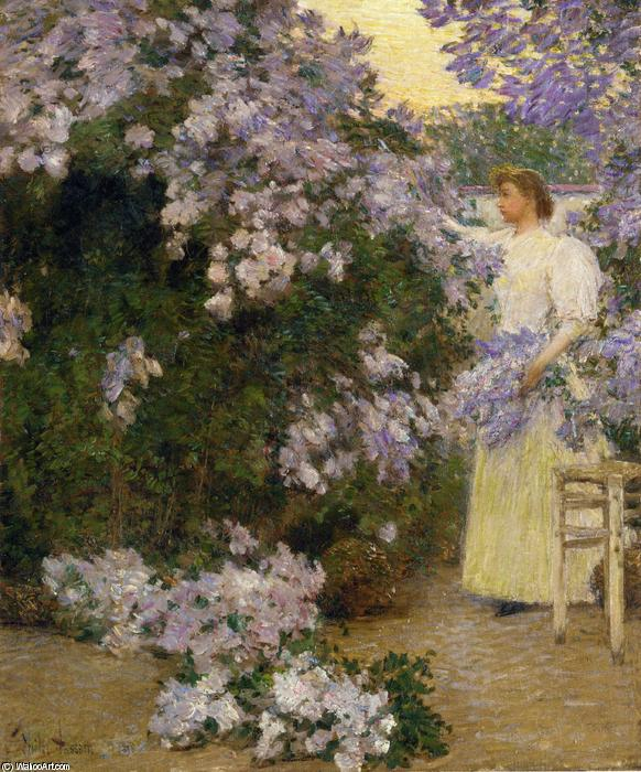 famous painting Mrs. Hassam in the Garden of Frederick Childe Hassam