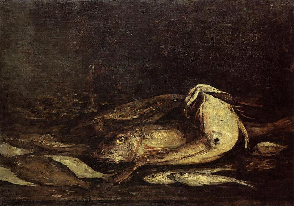 famous painting Mullet and Fish of Eugène Louis Boudin