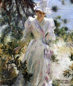 Edmund Charles Tarbell - My Wife, Emeline, in a Garden