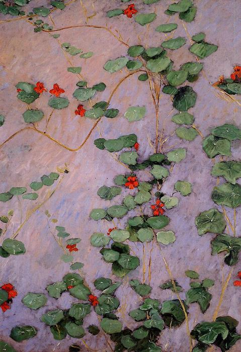 famous painting Nasturtiums of Gustave Caillebotte