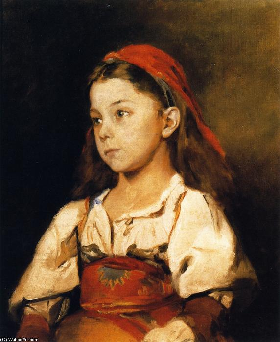 famous painting Normannisches Madchen (also known as Girl in the National Dress of Normandy) of William Merritt Chase