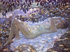 Frederick Carl Frieseke - Nude in Dappled Sunlight