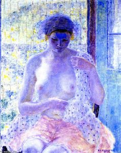 Frederick Carl Frieseke - Nude in Window (also known as Seated Female, Semi-Nude)
