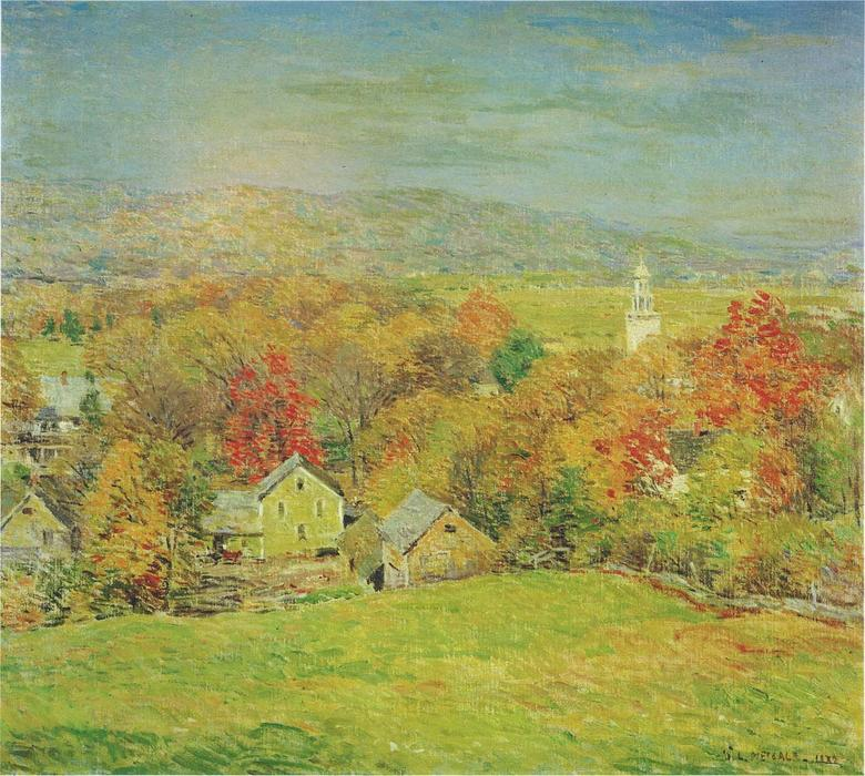 famous painting October Morning of Willard Leroy Metcalf