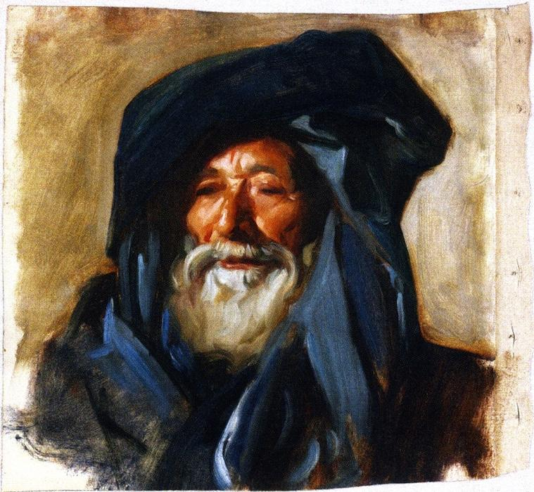 famous painting Old Man with a Dark Mantle of John Singer Sargent