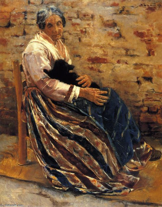 famous painting Old Woman with Cat of Max Liebermann