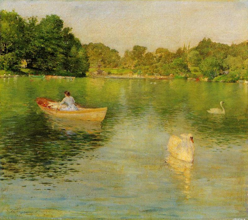 famous painting On the Lake, Central Park of William Merritt Chase