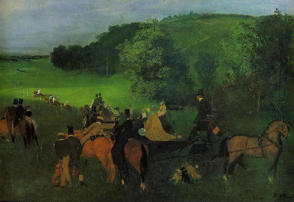 famous painting On the Racecourse of Edgar Degas