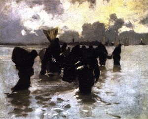 John Singer Sargent - Oyster Gatherers Returning (also known as Mussel Gatherers)