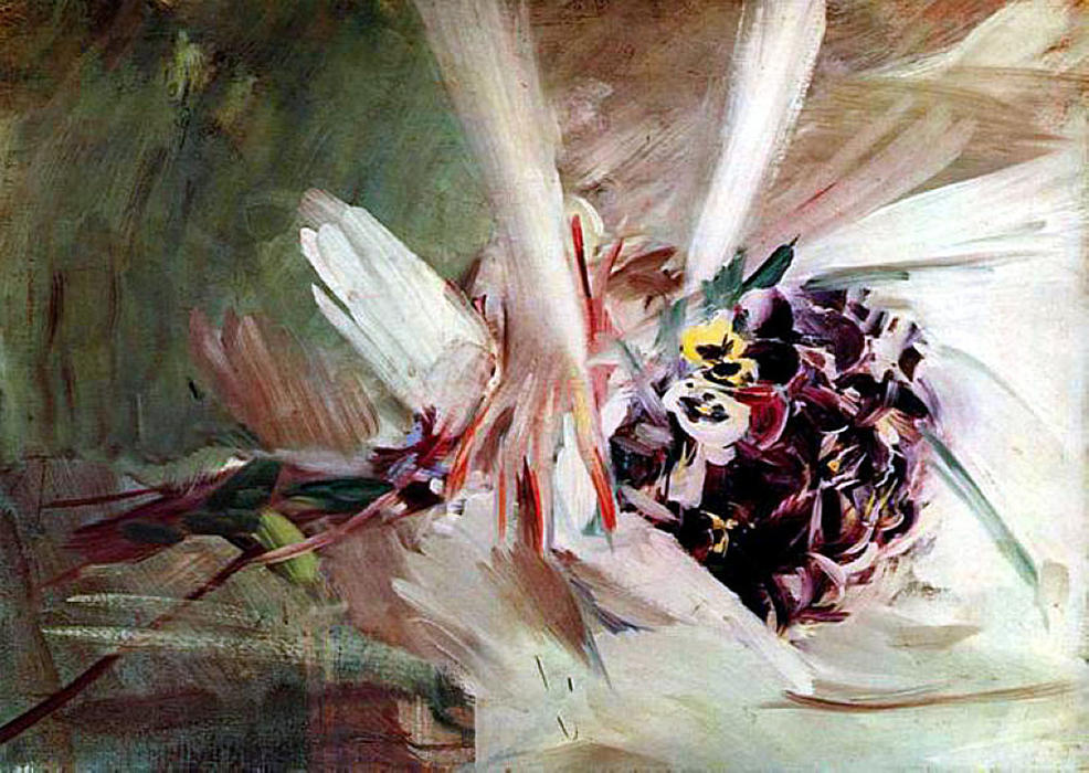 famous painting The Pansies of Giovanni Boldini