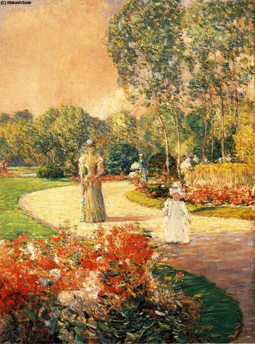 famous painting Parc Monceau, Paris of Frederick Childe Hassam