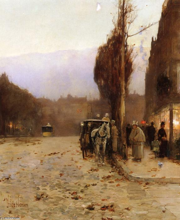 famous painting Paris at Twilight of Frederick Childe Hassam