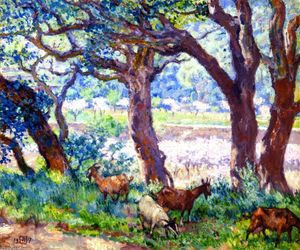 Theo Van Rysselberghe - Peach Trees in Blossom, Cork Oaks and Goats