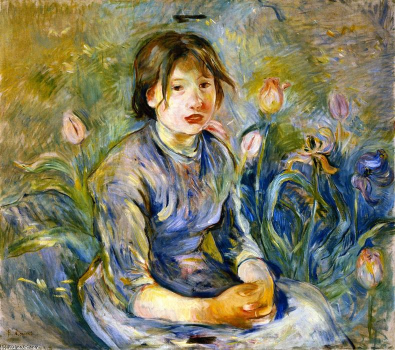 famous painting Peasant Girl among Tulips of Berthe Morisot