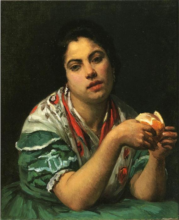 famous painting Peasant Woman Peeling an Orange of Mary Stevenson Cassatt