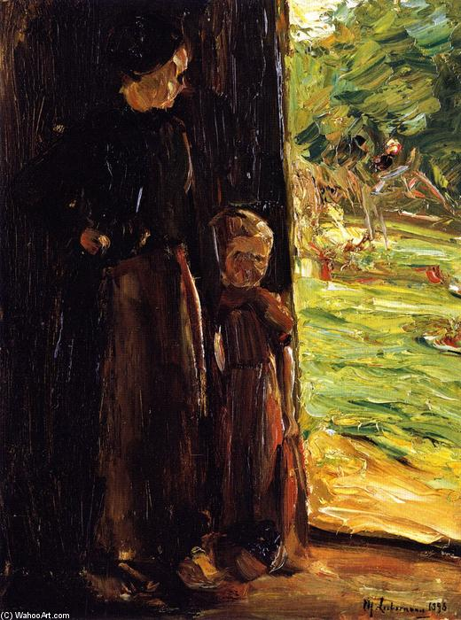 famous painting Peasant Woman with Child below a Door (also known as Woman and Child in the Doorway) of Max Liebermann