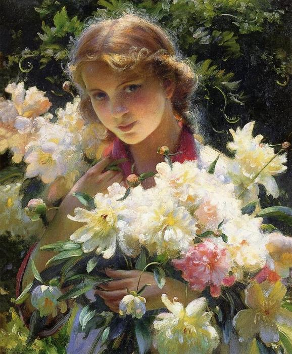famous painting Peonies of Charles Courtney Curran