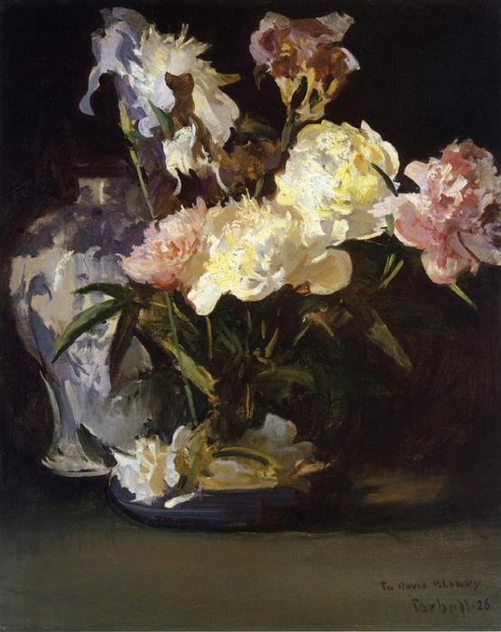 famous painting Peonies and Irises of Edmund Charles Tarbell