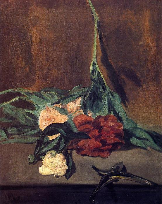 famous painting Peony Stems and Pruning Shears of Edouard Manet
