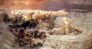Frederick Arthur Bridgman - Pharoah and His Army Engulfed by The Red Sea