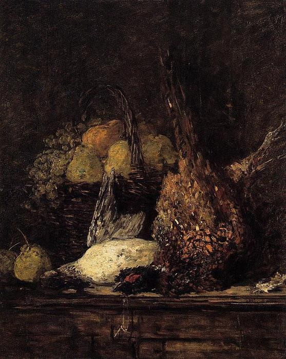famous painting Pheasant, Duck and Fruit of Eugène Louis Boudin