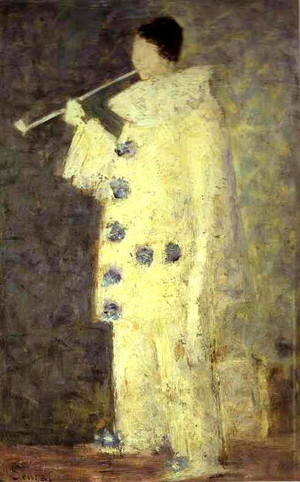 famous painting Pierrot with a White Pipe of Georges Pierre Seurat
