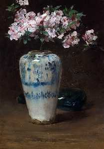 William Merritt Chase - Pink Azalea in a Chinese Vase