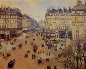 Camille Pissarro - Place du Theatre Francais: Afternoon Sun in Winter