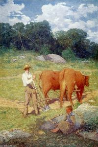 Julian Alden Weir - Ploughing for Buckwheat (also known as New England Plowman)